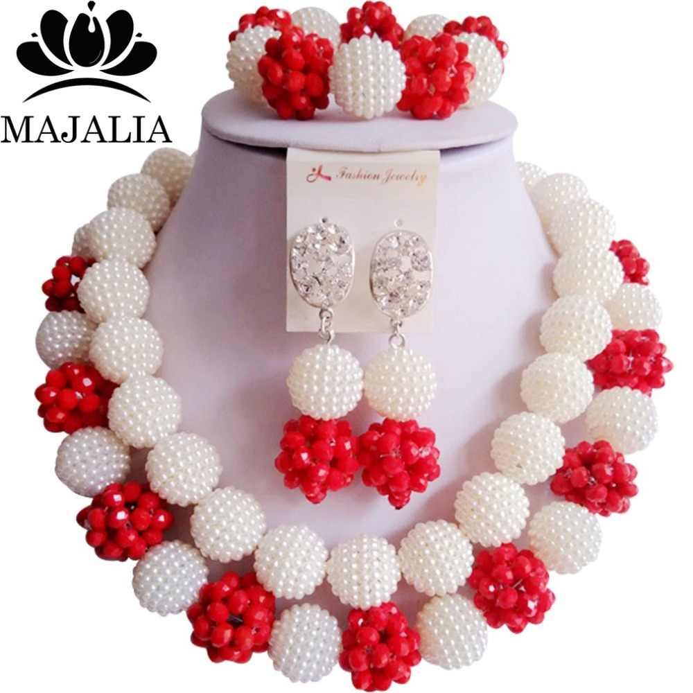 Mode Nigeria Hochzeit weiß afrikanische perlen schmuck-set Kristall Kunststoff perle halskette Brautschmuck Sets Freies verschiffen VV-087