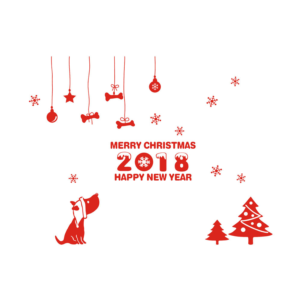 ISHOWTIENDA Happy New Year 2018 Merry Christmas Tree Wall Sticker Home Shop Windows Decals Decor#25