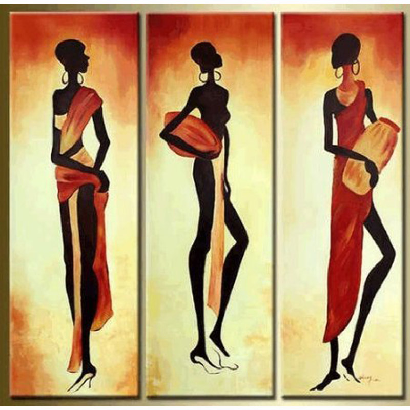 African Girl Abstract Modern Art 100% Hand Painted Oil Painting on Canvas Wall Art Deco Home Decoration for living room 3 Panels