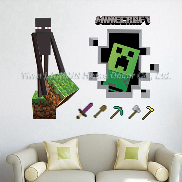 2017 new minecraft 3d wall sticker for kids room for 3d home decoration games