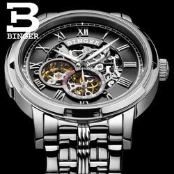 BINGER Top Watch Men Luxury Brand Mens Sapphire Watches Skeleton Tourbillon Automatic Mechanical Watch reloj hombre