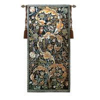 William Morris Art Owl and Flower Theme Living Room Decor Tapestry Wall Fabric Wall Cloths Wall Carpet
