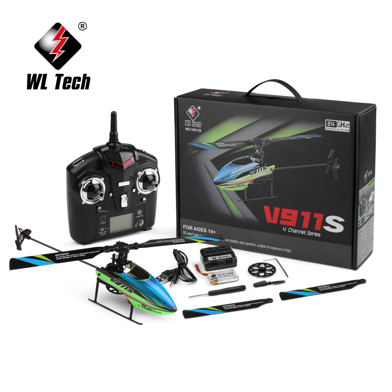 WLtoys V911S RC Helicopter 2 4G 4CH 6 Aixs Gyro Flybarless RC Helicopter RTF Remote Control