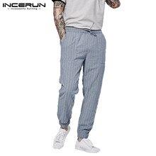 INCERUN Europe America Drawstring Sports Pants Pocket Hip Hop Jogging Straight Stripe Street Dress Men Pinstripe Trousers S-5XL