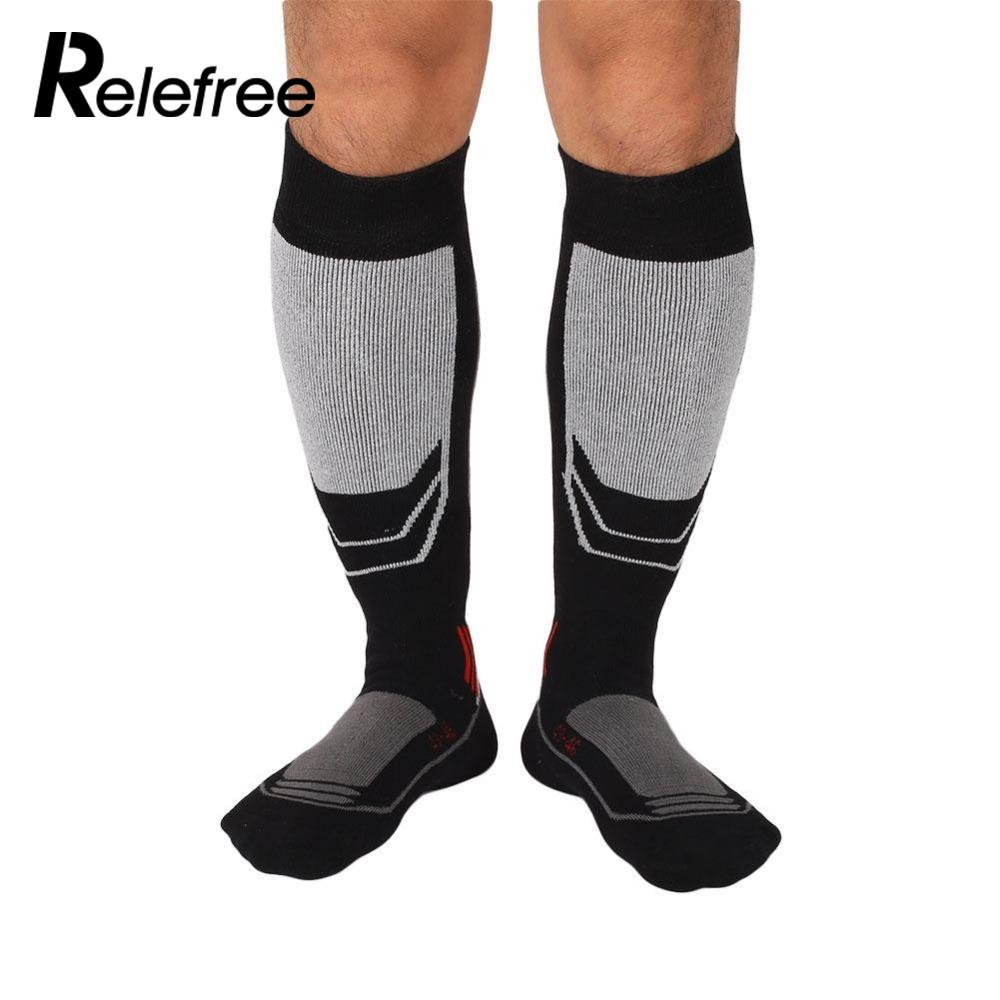 1 pair Mens Long Cotton Winter Long Thick Thermal Snow Ski Hiking Mountaineering Outdoor Sport Socks Knee Knee High Stockings