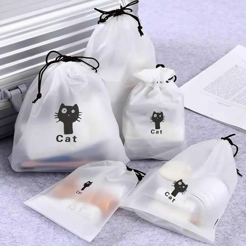 Transparent Animal Cat Drawstring Cosmetic Bag Travel Makeup Case Make Up Handbag Organizer Storage Pouch Toiletry Wash Kit