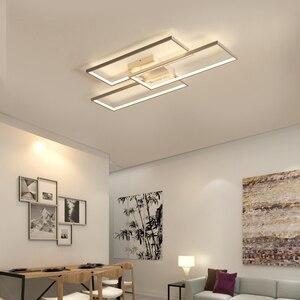 Image 2 - NEO Gleam Rectangle Black/White Color Modern Led Chandelier for living room bedroom 110V 220V deco Dimmable Ceiling Chandelier