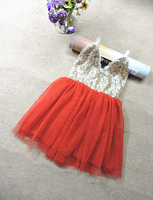 2016 Yeni Payetli Dantel Örgü Tutu Elbiseler Kız Bebek Için, prenses Sevimli Giyim Dans Kırmızı Pembe Mor Krem 5 adet/grup, toptan