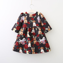 Kids Girls Printed Floral Dresses Girl Cotton Cartoon Dress Babies Autumn Fashion Clothing 2017 childrens clothes