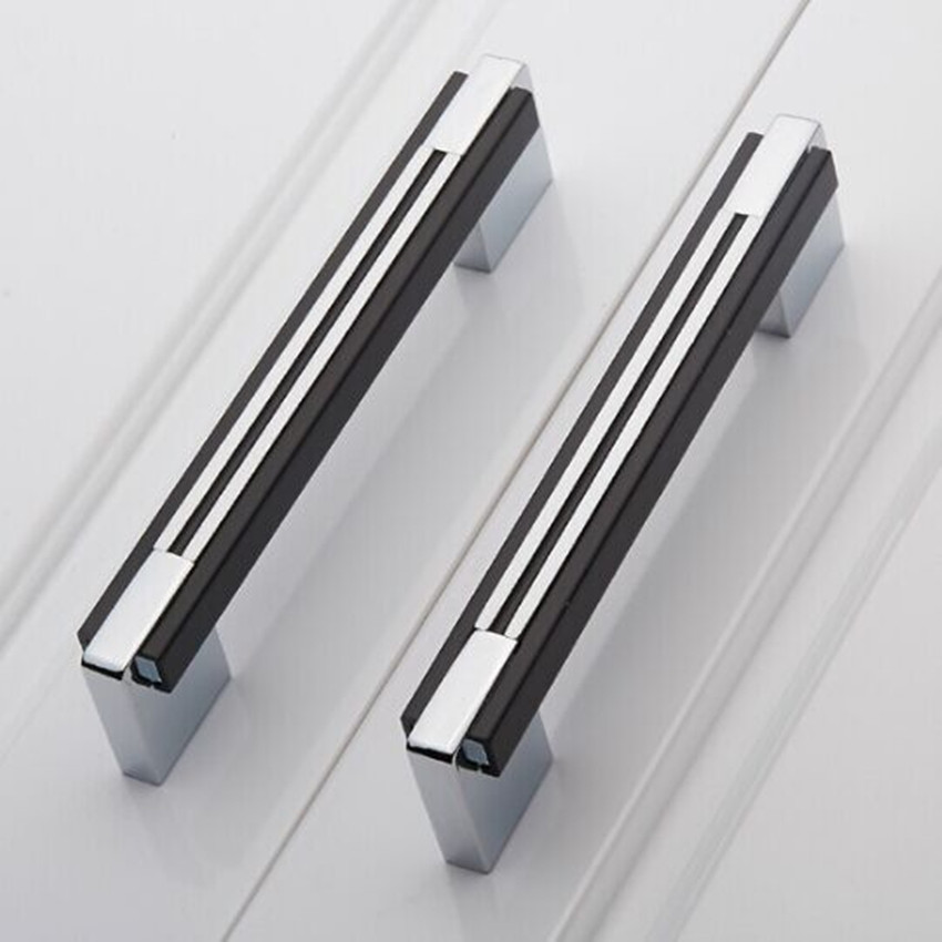160mm black silver simple fashion furniture handles chrome for Black and silver cabinet