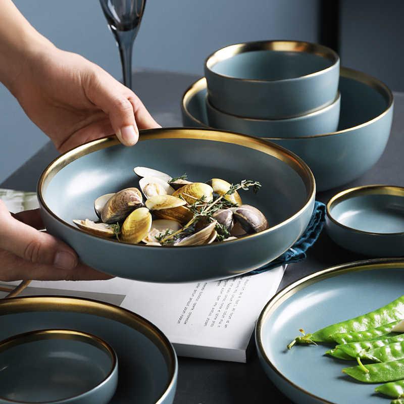 KINGLANG новые синие золотистый керамический пластин Бытовая Посуда соус миски для риса для супа лапши ужин неглубокая тарелка западные кухонные приборы