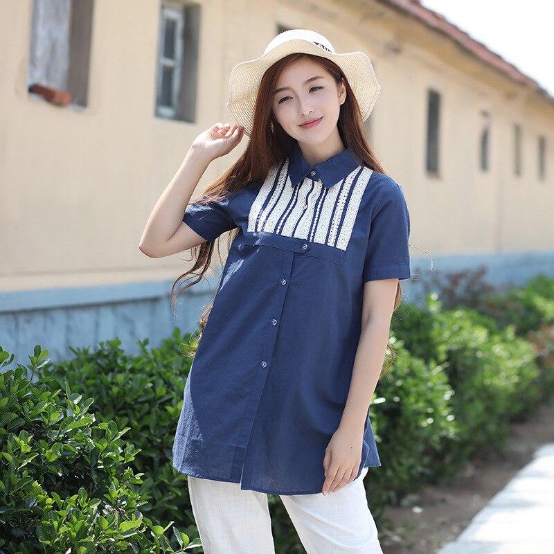 2020 Summer Original Cute Cotton Linen Long Shirt Turn Down Collar Appliques Solid Color Short Sleeve Tops Blusas Kimono Blouse