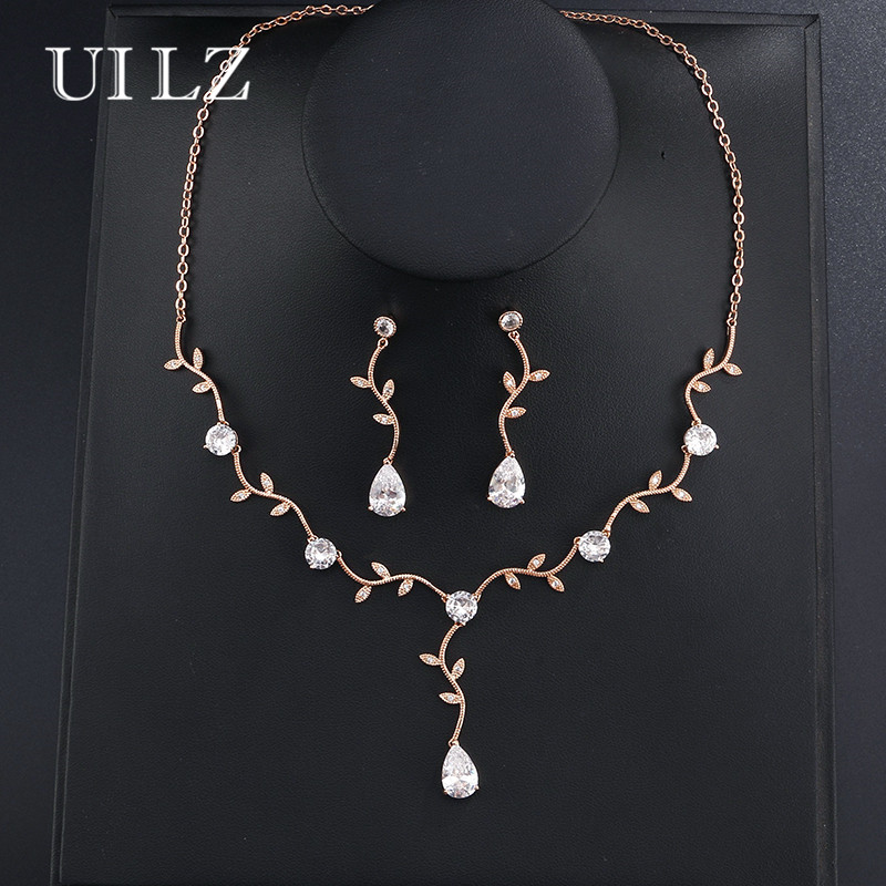 UILZ Classic Rose Gold Color Crystal Zirconia Jewelry Sets Leaf Necklace Earrings set For Elegant Women Girl US233 a suit of elegant rhinestone maple leaf necklace and earrings for women