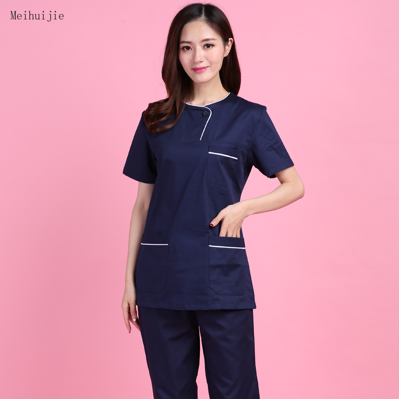 Medical Clothing Women's Scrubs Uniforms Hospital Surgeon Suit Blue Surgical Scrub Gown Women Lab Slim Fit Uniform Suit