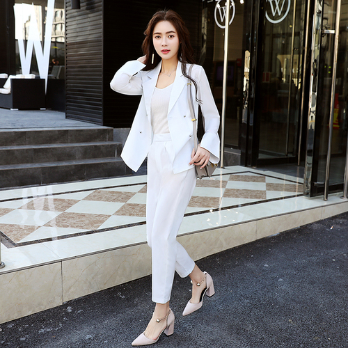 2018 Spring Fashion Temperament Pure Waist Collar Suit Sleeve Double Breasted Button Women Suits