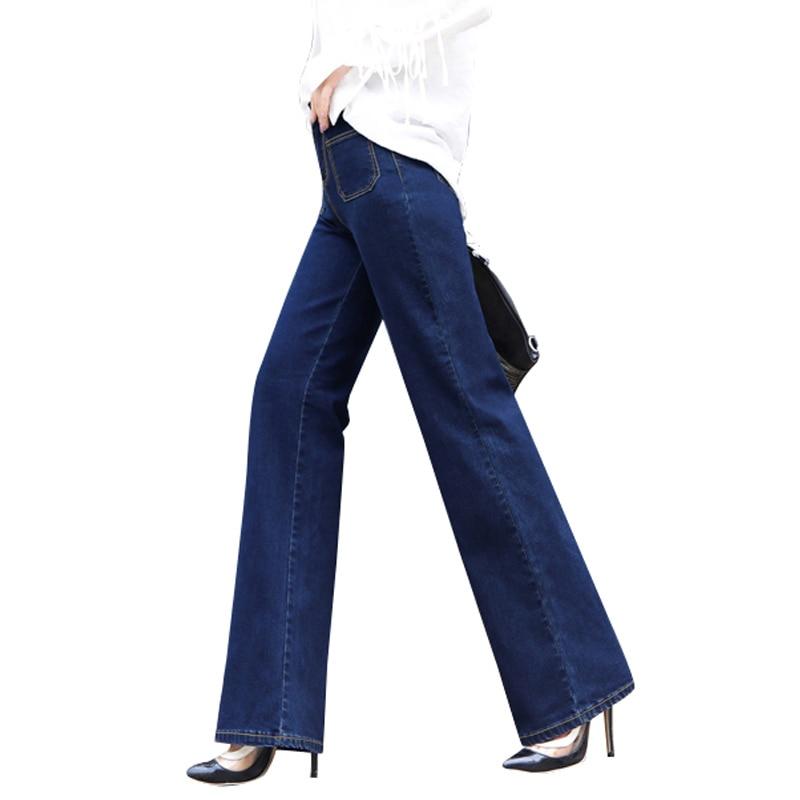 2017 New vintage High waist Blue bell-bottom mid waist slim butt-lifting boot cut wide leg flare women's jeans timberk tih q2 30m