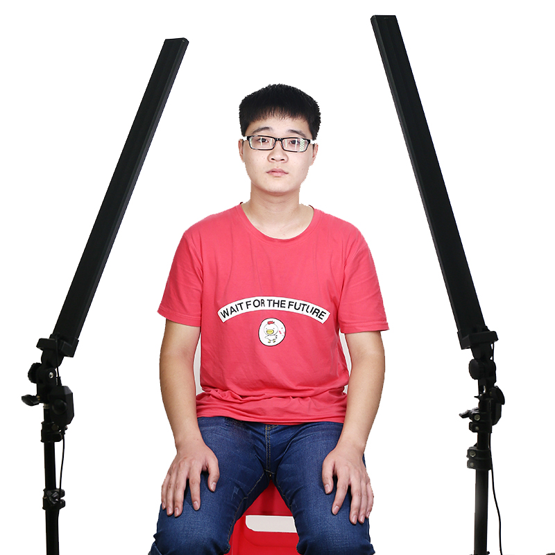 2PC Photo Studio Professional Led Strip 30W 5500K Photo Light Photography Softbox with Aluminium Cover Dimmer Switch White Color