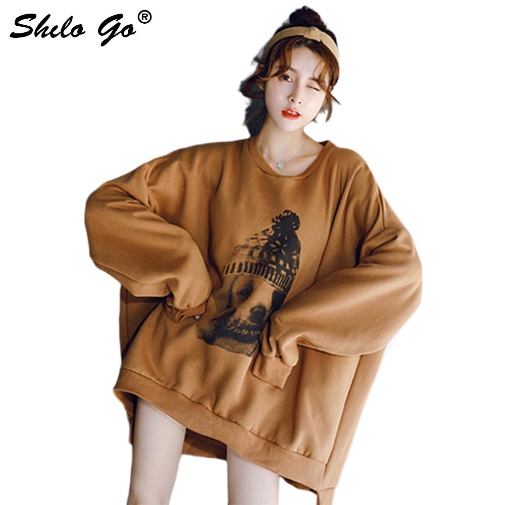 Dessin animé chien imprimer Sweatshirts femmes automne décontracté O cou chauve-souris manches pulls hiver Streetwear femmes Sweatshirts