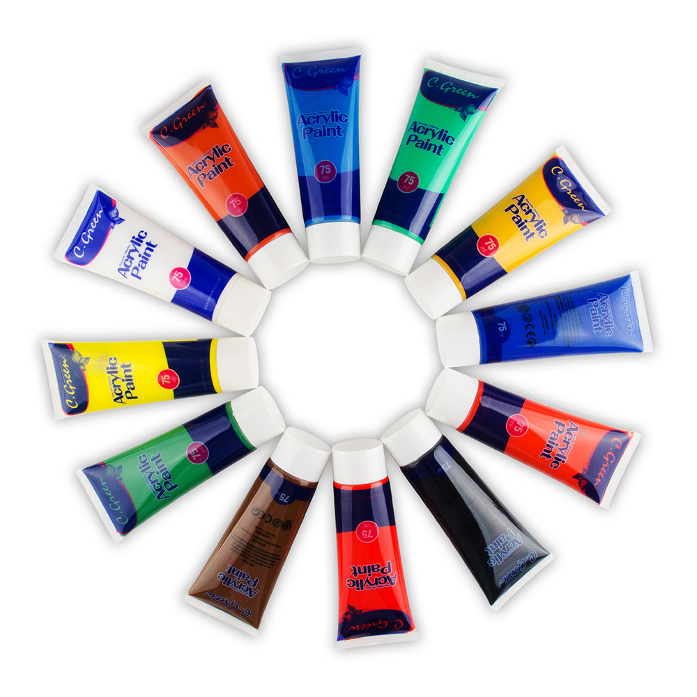 Acrylic Paint Set - 12 x 75ml Tubes Assorted Colours for Painting Canvas, Wood, Clay, Fabric, Nail Art, Ceramic & CraftsAcrylic Paint Set - 12 x 75ml Tubes Assorted Colours for Painting Canvas, Wood, Clay, Fabric, Nail Art, Ceramic & Crafts