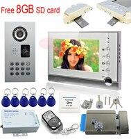 Video doorphone 8GB SD card video recording monitor intercom system electronic door lock video door phone rfid code IP65 kit