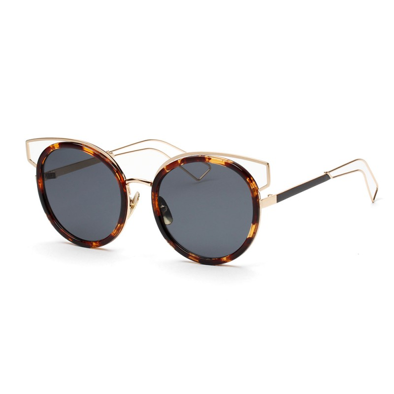 Women Mirror Flat Lense Rose Gold Frame Cat Eye Sunglasses Classic Designer Twin-Beams Sun Glasses