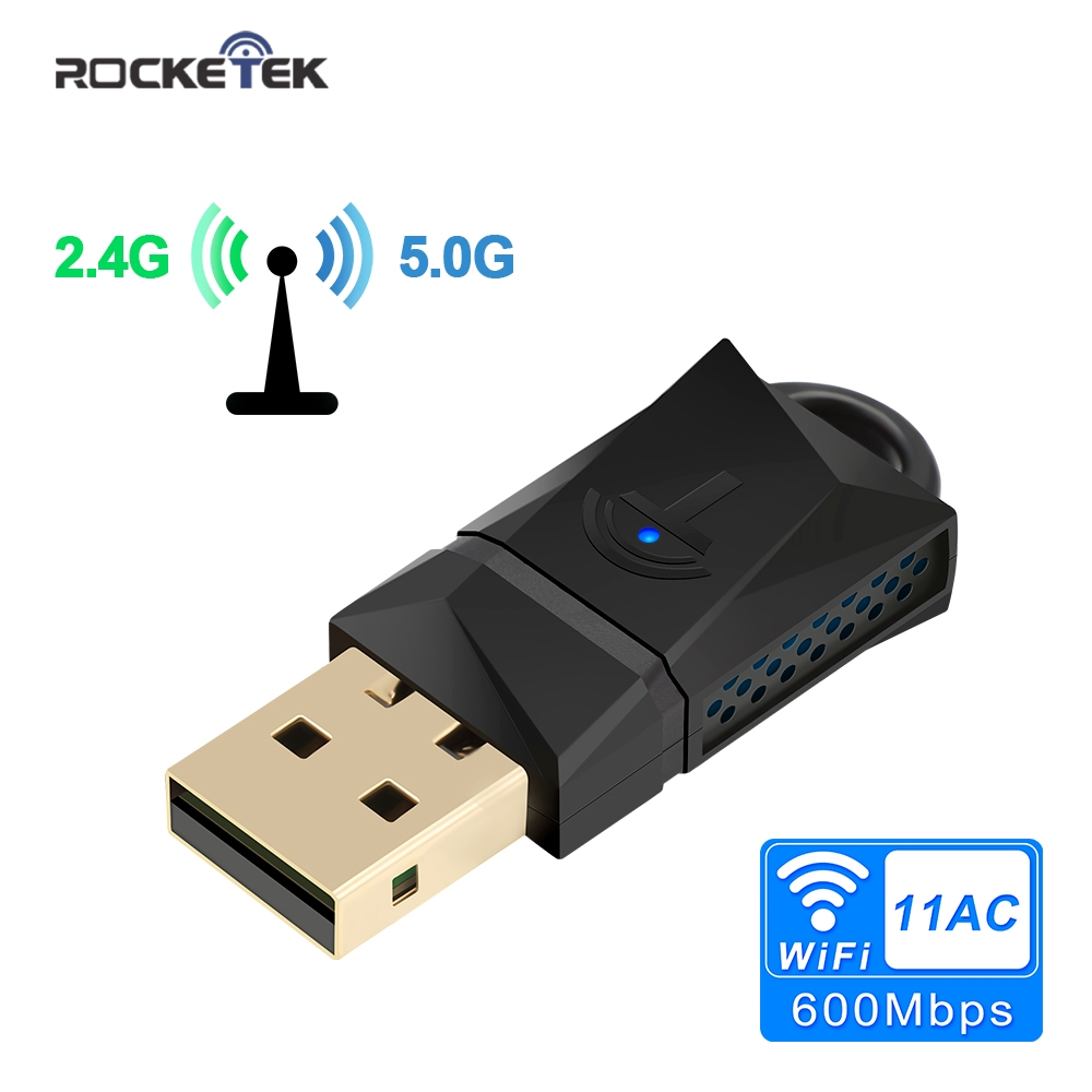 Rocketek 600Mbps USB WiFi Dongle Adapter, Dual Band USB Wireless Network Lan Card For PC Desktop Laptop Tablet 802.11a/g/n/ac