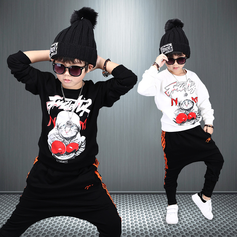 Fashion Boys Clothes Children Thicken Baby Clothing Sets Shirt Pant Print Kids Winter Fall Hip Hop Sports 2 pcs Set Clothes C041