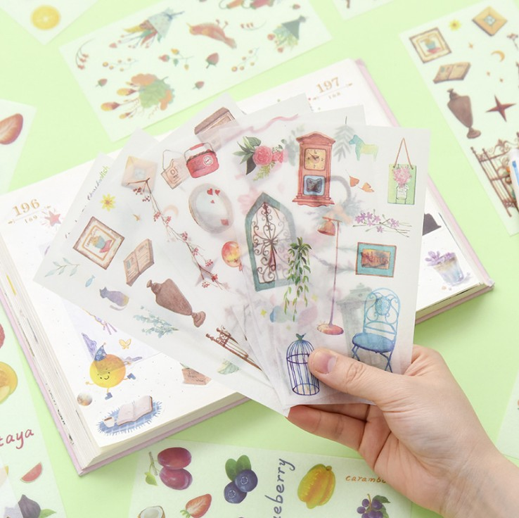 6 Pcs/pack Comfortable Sweet Time Bullet Journal Decorative Stickers Scrapbooking Stick Label Diary Stationery Album Stickers