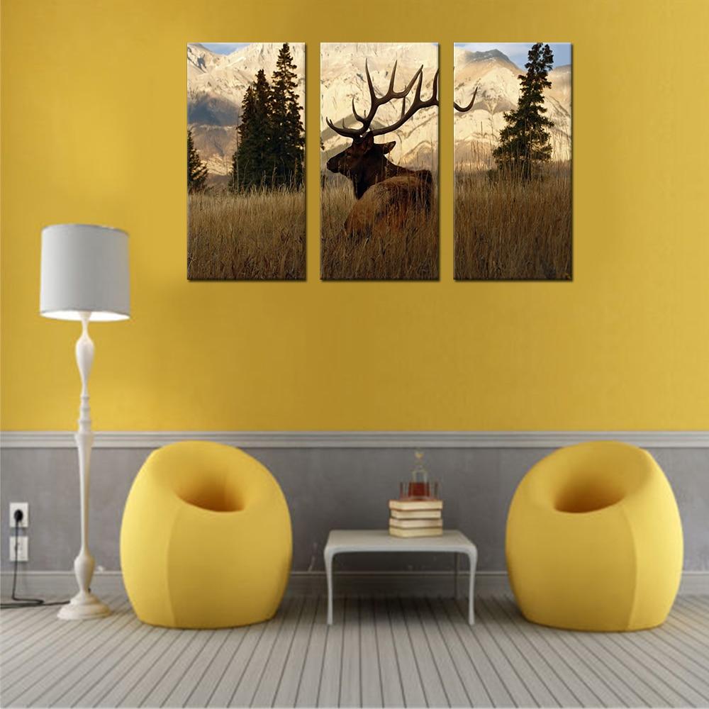 Elk In The Woods Canvas Set Wall Decor Living Room Pictures Deer ...
