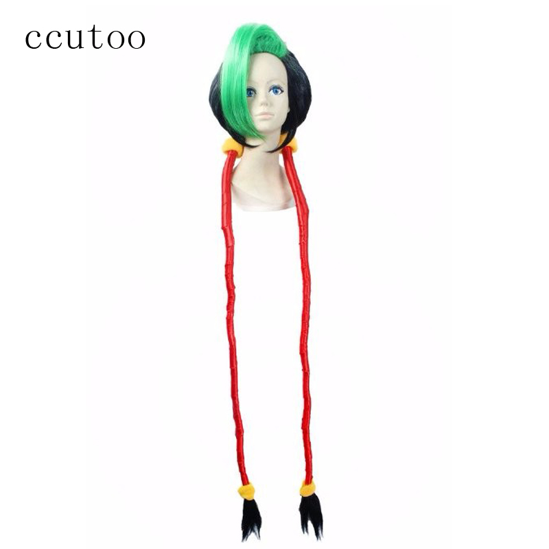 ccutoo 120cm LOL Jinx Firecracker Black Green Super Long Ponytail Loose Cannon Loli Synthetic Cosplay Full Wigs