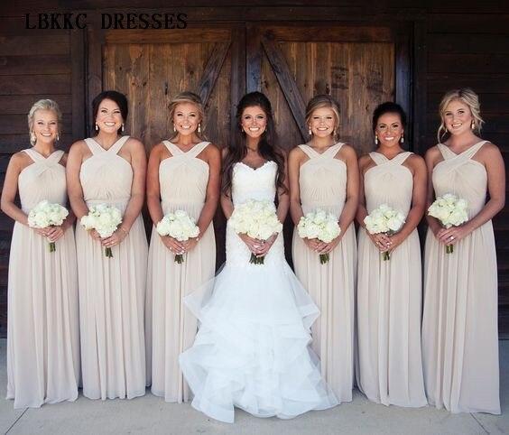 Long Chiffon Halter   Bridesmaid     Dresses   A Line Sleeveless Wedding Guest   Dress   Floor Length Simple Robe Demoiselle D'honneur