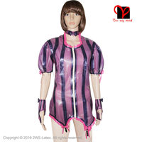 Sexy Purple Latex garter Belt Rubber shirt Gummi jacket coat cape gloves Suspender short PUFF SLEEVE Collar plus size SY 001