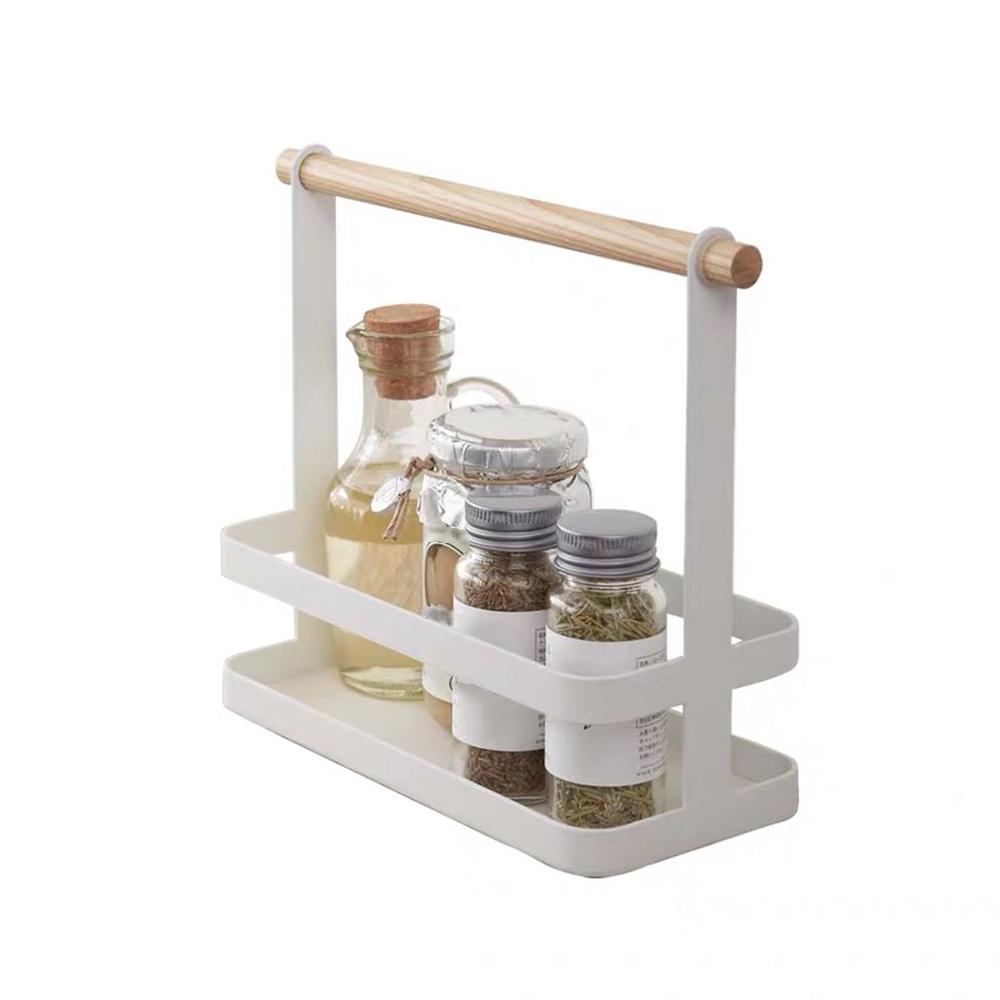 Portable Spice Rack Food Kitchen Cabinet Storage Organizer Kitchen Supplies Storage Organizer with Wood Handle for kitchen