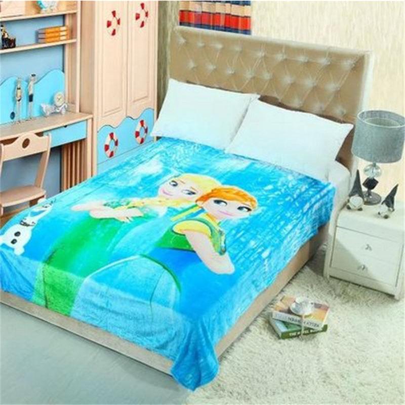 famous princess Elsa Anna bed sheet soft washable blanket 150*200cm size fronzen cover girl teen children roon decor multi-color