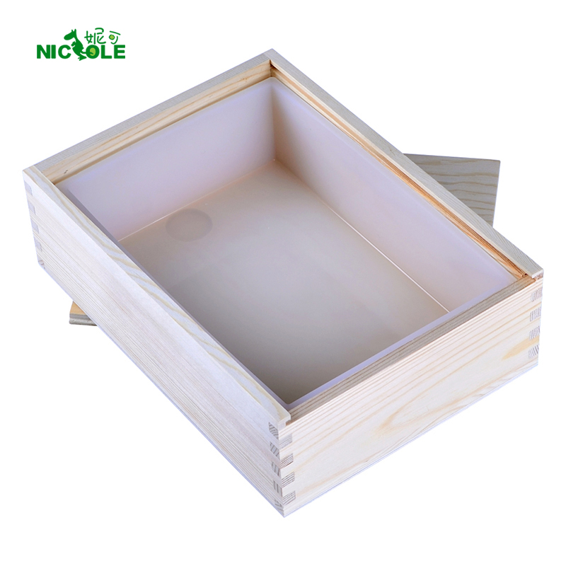 Nicole White Rectangle Silicone Soap Mold med Wooden Box for håndlaget Tost Loaf Mold