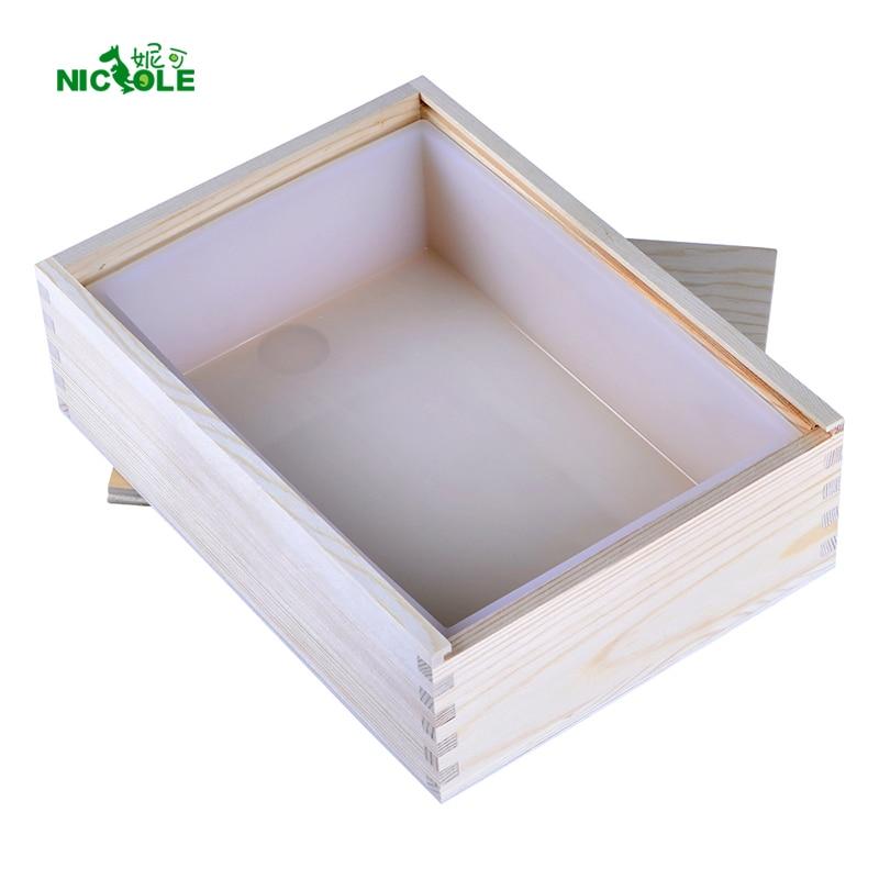 Nicole fehér téglalap szilikon szappan penész a fából készült doboz kézzel készített Tost Loaf Mold