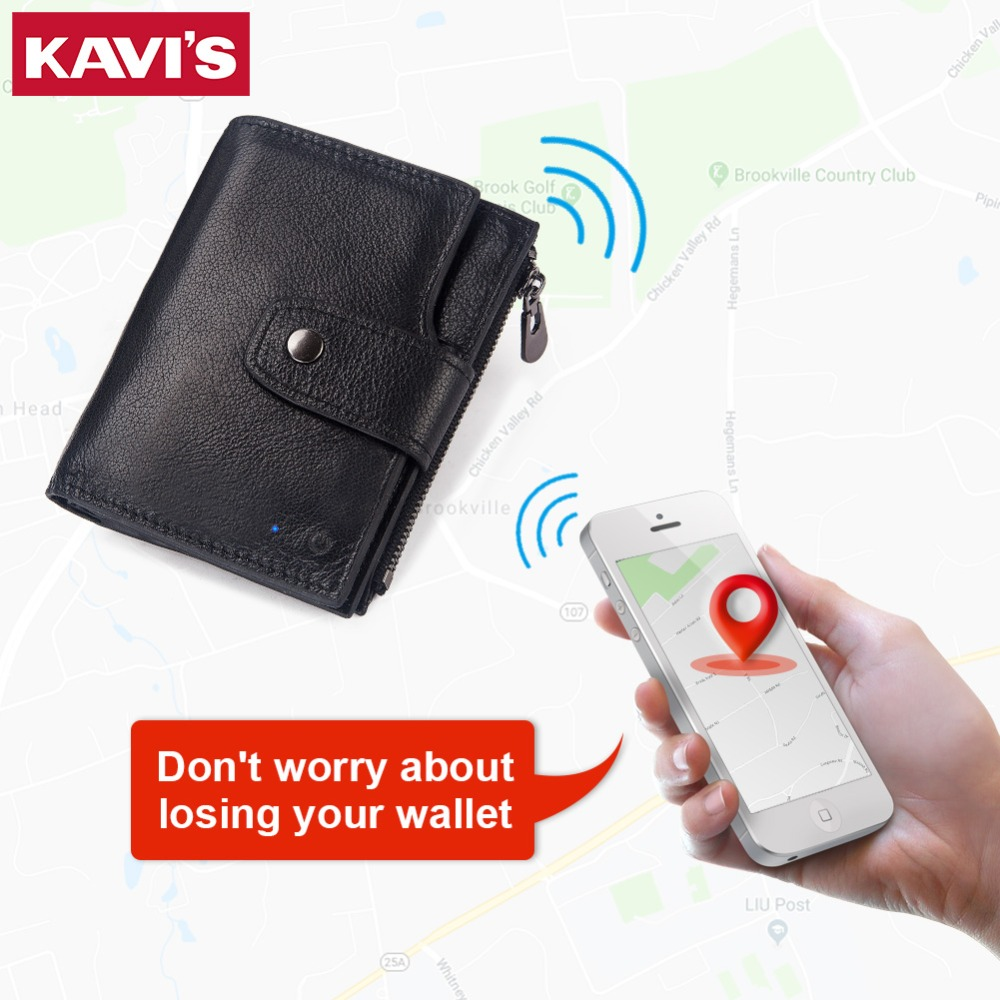 KAVIS Smart Wallet rfid Genuine Leather with alarm GPS Map Bluetooth Black Men Purse High Quality
