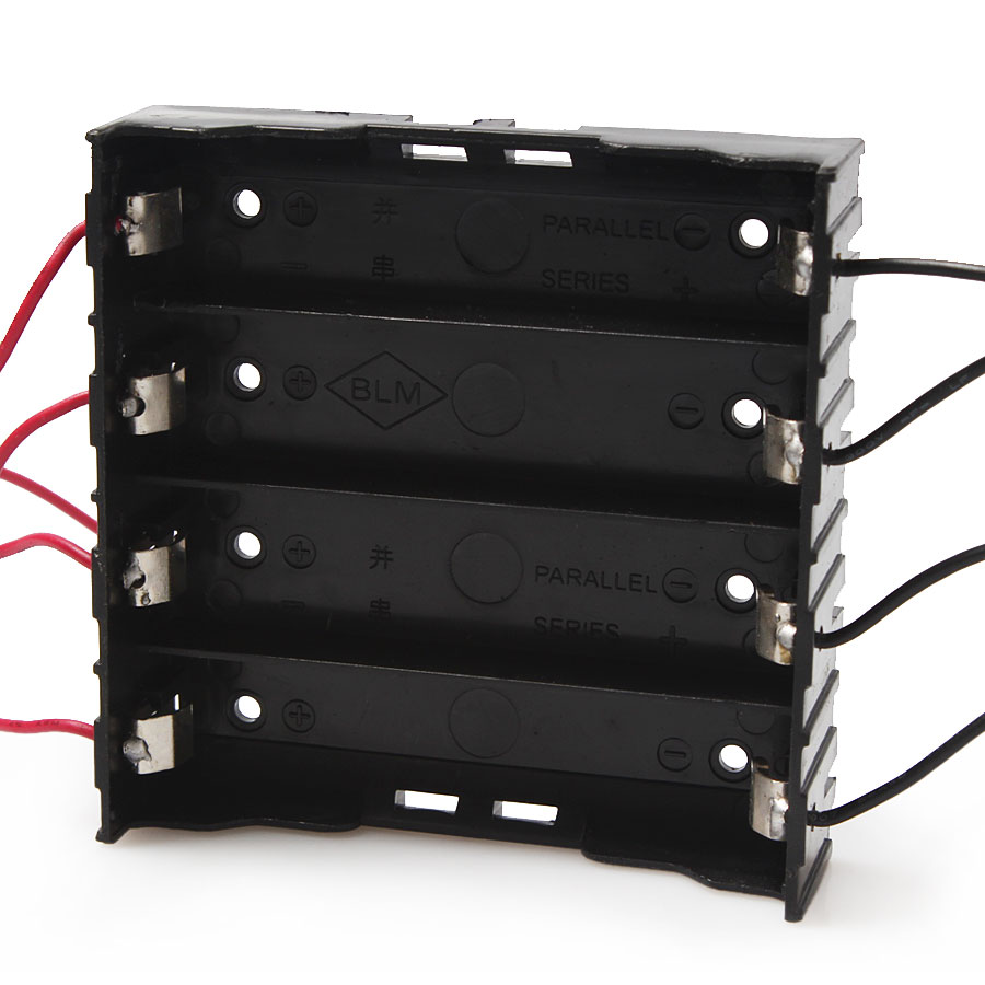 15pcs/lot MasterFire New Battery Box Holder For 4 x 18650 Black With Wire Leads Plastic Batteries Storage Case Cover