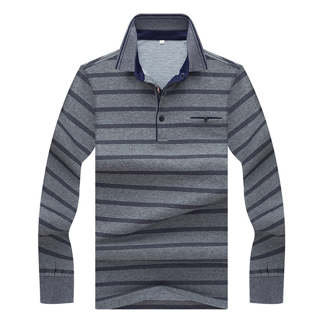 a6004911 Brand Men's Long Sleeve Polo Shirt Designer Striped Cotton Fit Slim  Business Causal Lapel Polos Men