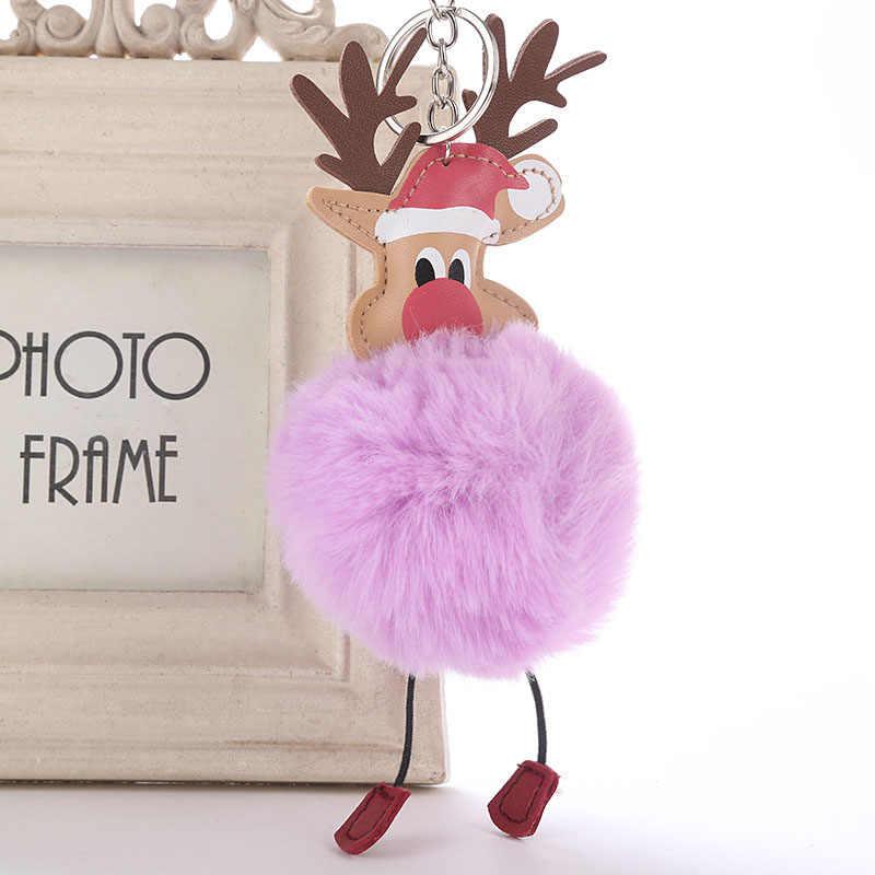 """1 шт. модный пушистый брелок для ключей """"Олень"""" искусственная сумочка из кроличьего меха автомобиля кулон брелок олень ювелирный подарок на Рождество Горячая Новинка"""