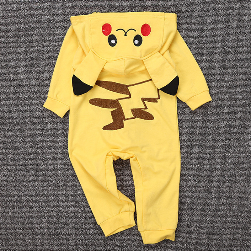 Cotton Kigurumi Newborn Baby Boy Clothes Spring Infant Romper Jumpsuit Pikachu Hooded Toddler Baby Cosplay Costume puseky 2017 infant romper baby boys girls jumpsuit newborn bebe clothing hooded toddler baby clothes cute panda romper costumes