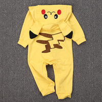Pokemon Go Cotton Kigurumi Newborn Baby Boy Clothes Spring Infant Romper Jumpsuit Pikachu Hooded Toddler Baby