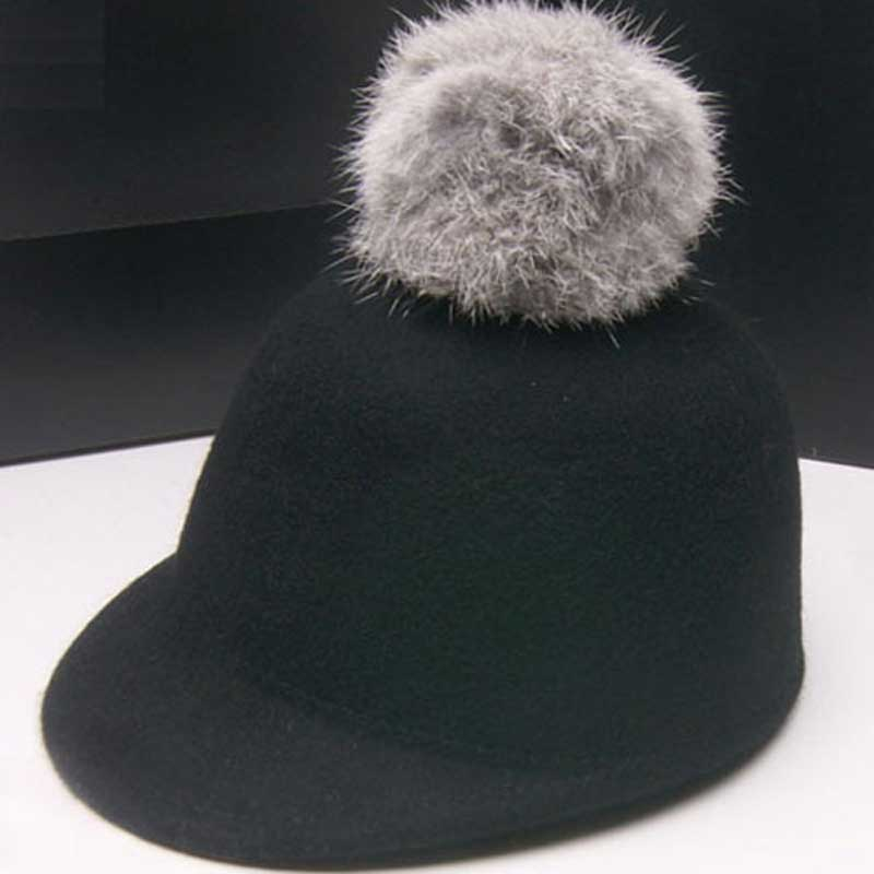 Wholesale Trendy Kids Spring Derby Wool Pom-pom Hats Infant Boys Autumn Bowler  Hat Girl Felt Cap Childrens Winter Riding Caps 4c126177680