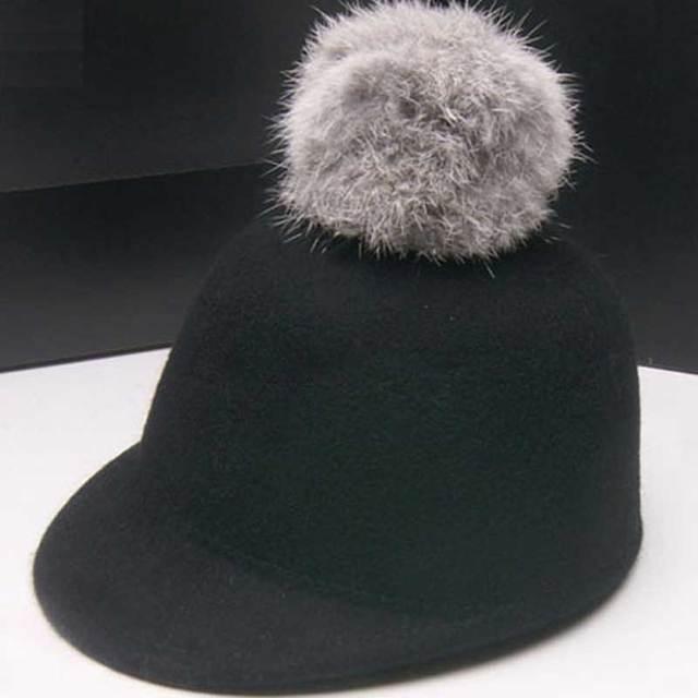 Wholesale Trendy Kids Spring Derby Wool Pom-pom Hats Infant Boys Autumn Bowler  Hat Girl Felt Cap Childrens Winter Riding Caps ee3f657926c