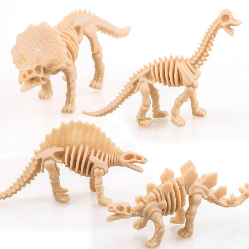 6pcs Miniaturas Figuras Modelo de Simulação de Dinossauro Jurassic Dinossauros Esqueleto Mini Brinquedo Educativo para Crianças casa de Bonecas de Decoração para Casa