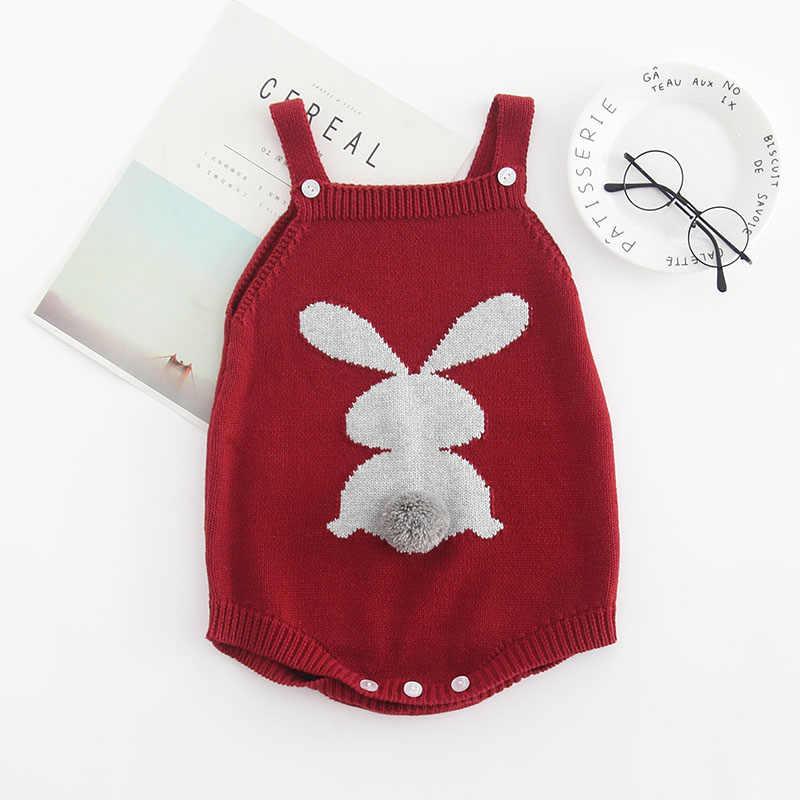 Mono de punto de conejo lindo de 2019 para niñas, de invierno, para bebés, sin mangas, ropa para niños, mono de una pieza para recién nacidos