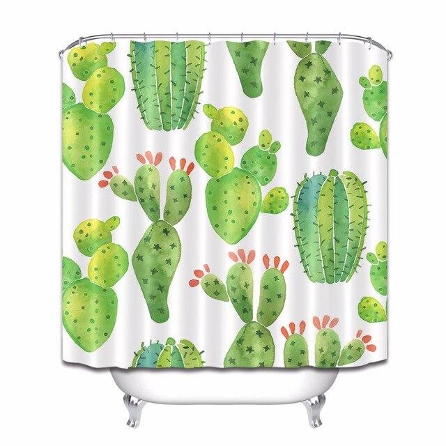 Tropical Succulent Plants Cactus Bathroom Personalized Shower Curtain Waterproof Polyester 12 Hooks Bath Curtains Set