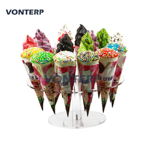 1 Pcs transparent 16 holes Acrylic ice cream rack/Acrylic ice cream stand/Acrylic ice cream holder/Acrylic cone holder цена в Москве и Питере