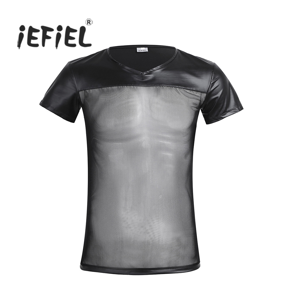 iEFiEL 2017 Fashionable Black Mens Short Sleeve V-neck Faux Leather Mesh See Splice T-Shirt Tops for Men Clothing Tees Costumes