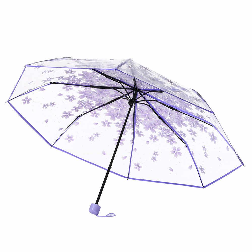 4 цвета прозрачный зонтик Cherry Blossom гриб Apollo принцесса зонтики с длинной ручкой для женщин Зонты детский